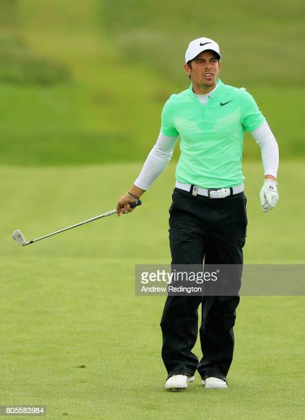 Adrien Saddier of France plays his second shot on the 6th during day four of the HNA Open de France at Le Golf National on July 2 2017 in Paris France