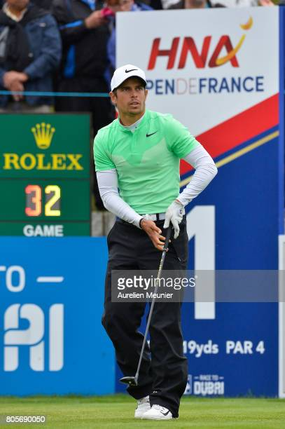 Adrien Saddier of France reacts during day four of the HNA Open de France at Le Golf National on July 2 2017 in Paris France