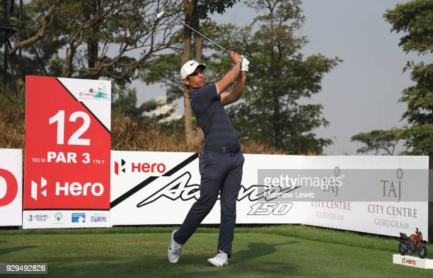 Adrien Saddier of France tees off on the 12th hole during day two of the Hero Indian Open at Dlf Golf and Country Club on March 9 2018 in New Delhi...