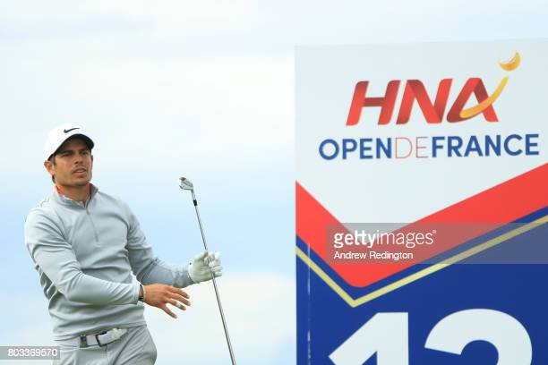 Adrien Saddier of France tees off on the 13th hole during day one of the HNA Open de France at Le Golf National on June 29 2017 in Paris France