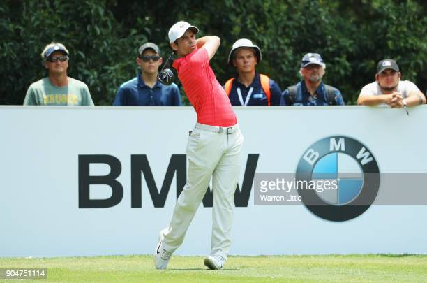 Adrien Saddier of France tees off on the 4th hole during day four of the BMW South African Open Championship at Glendower Golf Club on January 14...