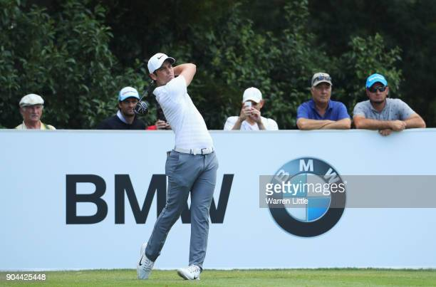 Adrien Saddier of France tees off on the 4th hole during day three of the BMW South African Open Championship at Glendower Golf Club on January 13...