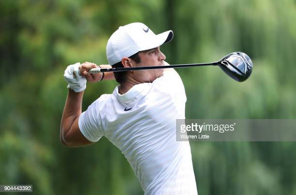 Adrien Saddier of France tees off on the 8th hole during day three of the BMW South African Open Championship at Glendower Golf Club on January 13...