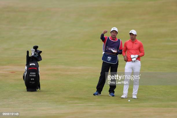 Adrien Saddier of France with his caddy during the The Open Qualifying Series Dubai Duty Free Irish Open at Ballyliffin Golf Club on July 8 2018 in...