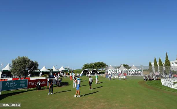 Adrien Saddier of Frnace tees off on the first hole during the third round of the Portugal Masters at Dom Pedro Victoria Golf Course on September 22...