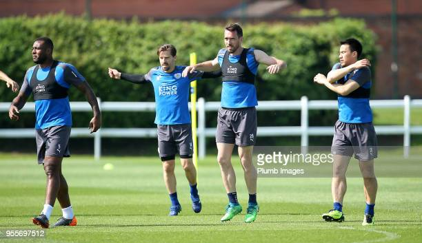 Adrien Silva Christian Fuchs and Shinji Okazaki during the Leicester City training session at Belvoir Drive Training Complex on May 7th 2018 in...