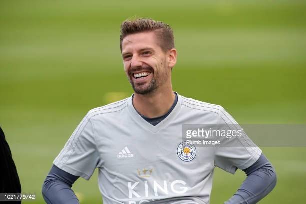 Adrien Silva during the Leicester City training session at Belvoir Drive Training Complex on August 23 2018 in Leicester United Kingdom