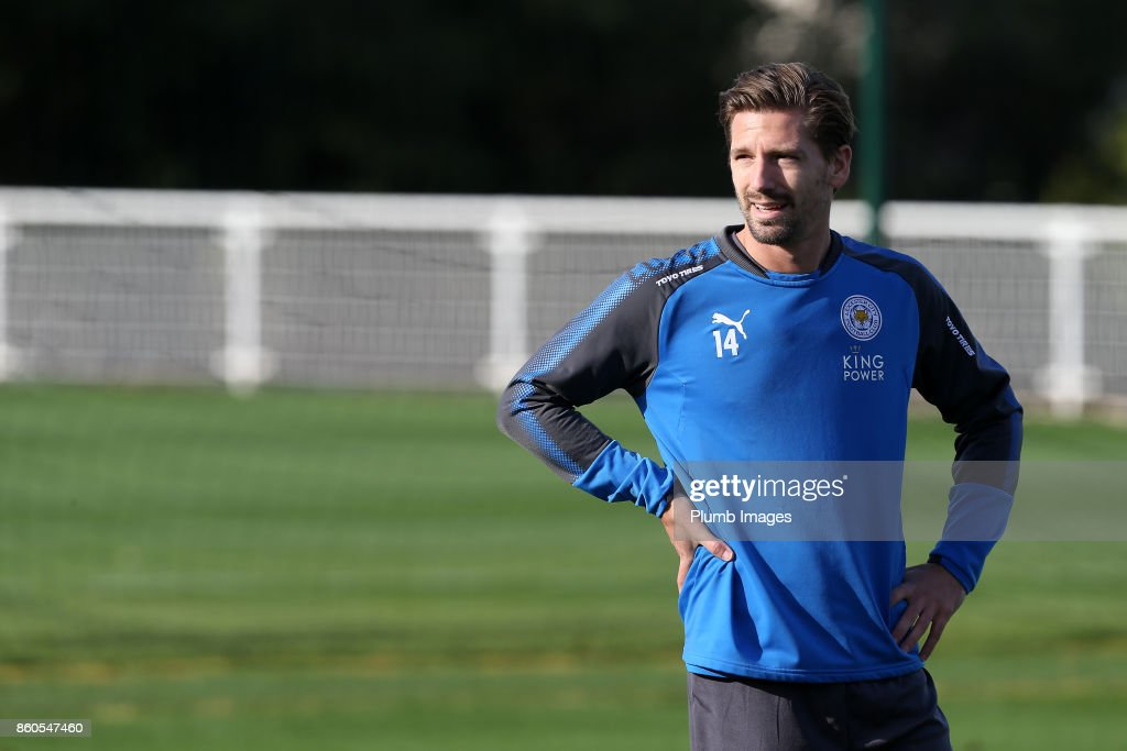 Adrien Silva during the Leicester City training session at Belvoir Drive Training Complex on October 12 , 2017 in Leicester, United Kingdom.