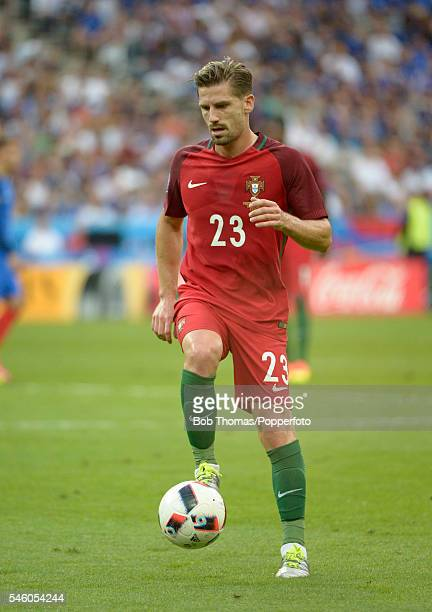Adrien Silva in action for Portugal during the UEFA EURO 2016 Final match between Portugal and France at Stade de France on July 10 2016 in Paris...
