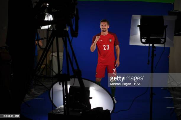 Adrien Silva is filmed during the Portugal team portrait session on June 15 2017 in Kazan Russia