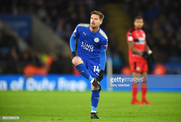Adrien Silva of Leicester City adjusts his boots during the Premier League match between Leicester City and Huddersfield Town at The King Power...