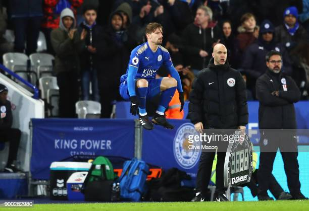 Adrien Silva of Leicester City comes on as a substitute during the Premier League match between Leicester City and Huddersfield Town at The King...