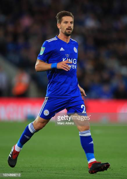 Adrien Silva of Leicester City during the Carabao Cup Second Round match between Leicester City and Fleetwood Town at The King Power Stadium on...