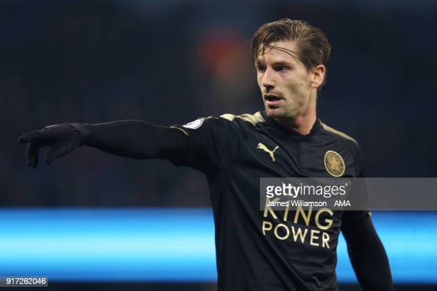 Adrien Silva of Leicester City during the Premier League match between Manchester City and Leicester City at Etihad Stadium on February 10 2018 in...