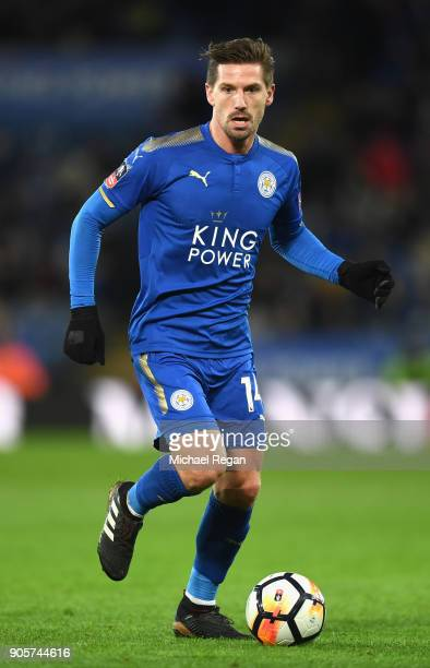 Adrien Silva of Leicester City in action during The Emirates FA Cup Third Round Replay match between Leicester City and Fleetwood Town at The King...