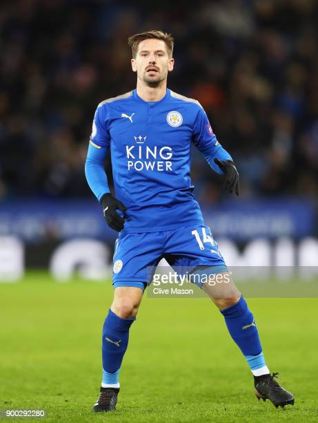 Adrien Silva of Leicester City in action during the Premier League match between Leicester City and Huddersfield Town at The King Power Stadium on...