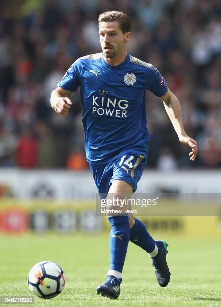 Adrien Silva of Leicester City in action during the Premier League match between Burnley and Leicester City at Turf Moor on April 14 2018 in Burnley...