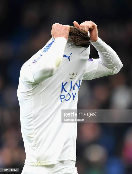 Adrien Silva of Leicester City looks dejected during the Premier League match between Crystal Palace and Leicester City at Selhurst Park on April 28...
