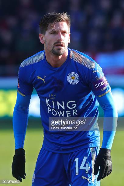 Adrien Silva of Leicester City looks on during The Emirates FA Cup Third Round match between Fleetwood Town and Leicester City at Highbury Stadium on...