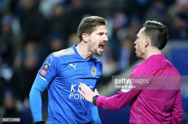 Adrien Silva of Leicester City make his feelings clear to the assistant referee during The Emirates FA Cup Quarter Final tie between Leicester City...