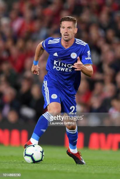 Adrien Silva of Leicester City runs with the ball during the Premier League match between Manchester United and Leicester City at Old Trafford on...