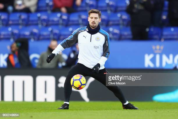 Adrien Silva of Leicester warms up prior to the Premier League match between Leicester City and Huddersfield Town at The King Power Stadium on...