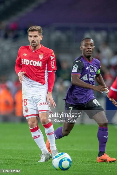 December 04: Adrien Silva of Monaco watched by Max Gradel of Toulouse during the Toulouse FC V AS Monaco, French Ligue 1 regular season match at the...