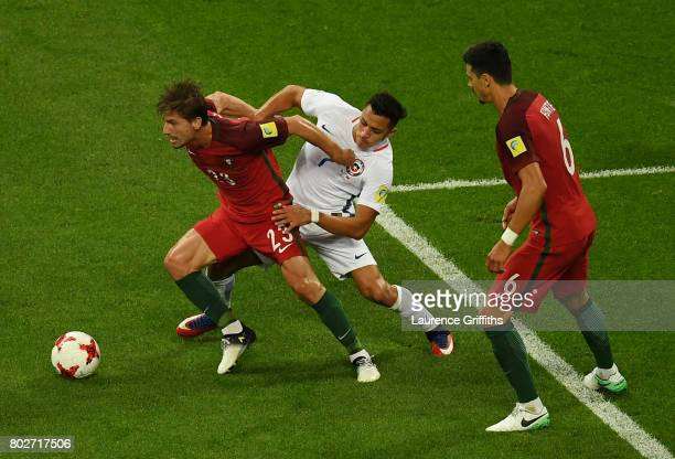 Adrien Silva of Portugal and Alexis Sanchez of Chile battle for possession during the FIFA Confederations Cup Russia 2017 SemiFinal between Portugal...