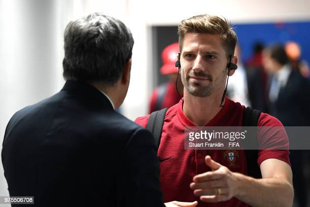 Adrien Silva of Portugal arrives at the stadium prior to the 2018 FIFA World Cup Russia group B match between Portugal and Spain at Fisht Stadium on...