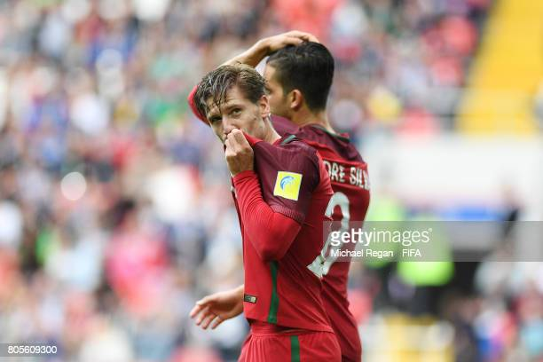 Adrien Silva of Portugal celebrates scoring his sides second goal during the FIFA Confederations Cup Russia 2017 PlayOff for Third Place between...
