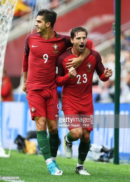Adrien Silva of Portugal celebrates scoring his sides second goal with Andre Silva of Portugal during the FIFA Confederations Cup Russia 2017 PlayOff...