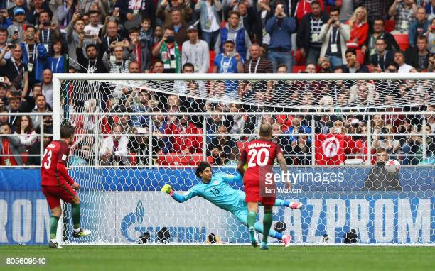 Adrien Silva of Portugal celebrates scoring his sides second goal past Guillermo Ochoa of Mexico during the FIFA Confederations Cup Russia 2017...