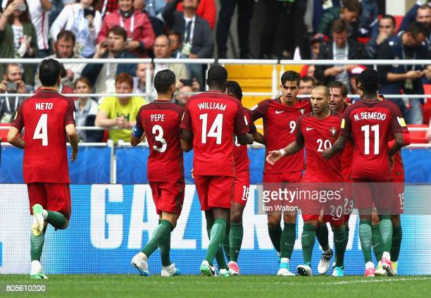Adrien Silva of Portugal celebrates scoring his sides second goal with his Portugal team mates during the FIFA Confederations Cup Russia 2017 PlayOff...