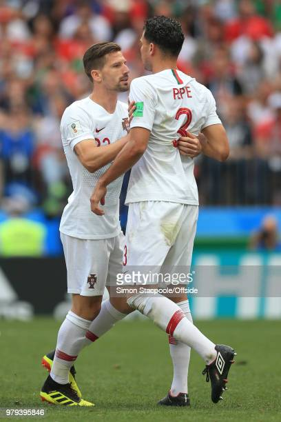 Adrien Silva of Portugal holds Pepe of Portugal back after a disagreement during the 2018 FIFA World Cup Russia group B match between Portugal and...