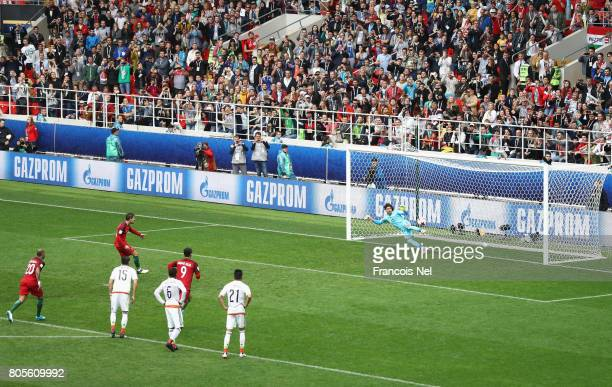 Adrien Silva of Portugal scores his sides second goal past Guillermo Ochoa of Mexico during the FIFA Confederations Cup Russia 2017 PlayOff for Third...