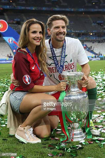 Adrien Silva of Portugal with girlfriend during the UEFA EURO 2016 final match between Portugal and France on July 10 2016 at the Stade de France in...