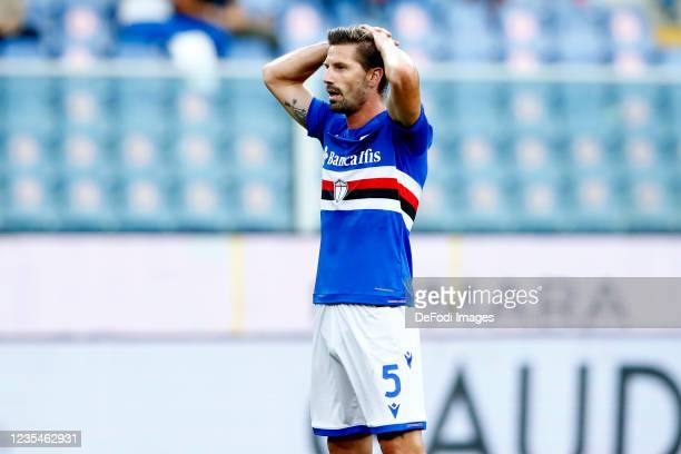 Adrien Silva of UC Sampdoria looks dejected during the Serie A match between UC Sampdoria and SSC Napoli at Stadio Luigi Ferraris on September 23,...