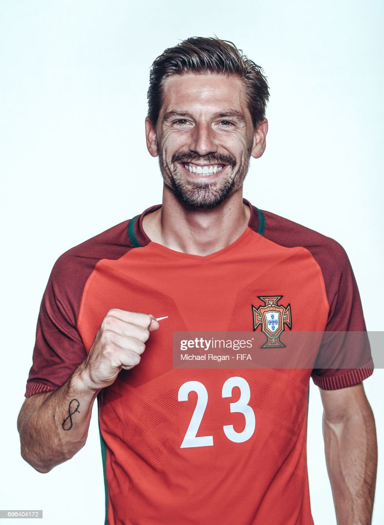 Adrien Silva poses for a picture during the Portugal team portrait session on June 15, 2017 in Kazan, Russia.