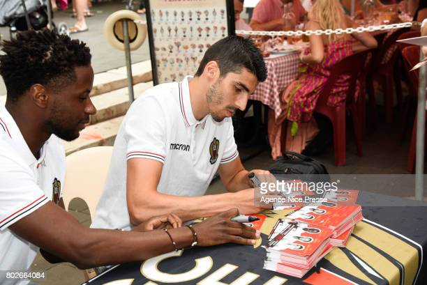 Adrien Tameze and Pierre Lees Melou of Nice during fan's meeting with new players of OGC Nice on June 28 2017 in Nice France