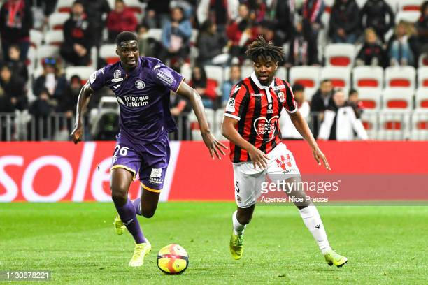 Adrien Tameze of Nice and Kalidou Sidibe of Toulouse during the Ligue 1 match between Nice and Toulouse at Allianz Riviera Stadium on March 15 2019...