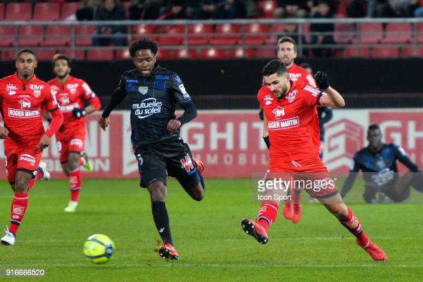 Adrien Tameze of Nice and Mehdi Abeid of Dijon during the Ligue 1 match between Dijon FCO and OGC Nice at Stade Gaston Gerard on February 10 2018 in...