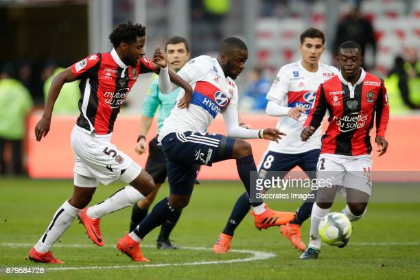 Adrien Tameze of Nice Tanguy Ndombele Alvaro of Olympique Lyon Nampalys Mendy of Nice during the French League 1 match between Nice v Olympique Lyon...