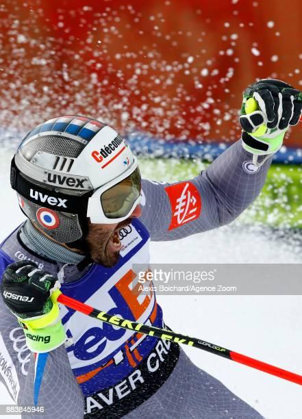 Adrien Theaux of France celebrates during the Audi FIS Alpine Ski World Cup Men's Super G on December 1 2017 in Beaver Creek Colorado