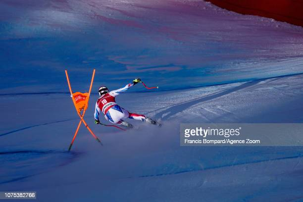 Adrien Theaux of France competes during the Audi FIS Alpine Ski World Cup Men's Downhill on December 28 2018 in Bormio Italy