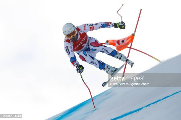 Adrien Theaux of France competes during the Audi FIS Alpine Ski World Cup Men's Super G on January 27 2019 in Kitzbuehel Austria