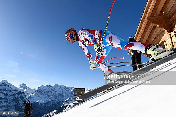 Adrien Theaux of France competes during the Audi FIS Alpine Ski World Cup Men's Downhill Training on January 13 2015 in Wengen Switzerland