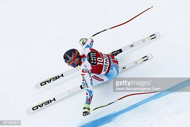 Adrien Theaux of France competes during the Audi FIS Alpine Ski World Cup Men's Downhill Training on January 15 2015 in Wengen Switzerland