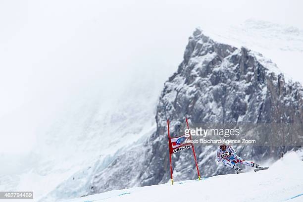 Adrien Theaux of France competes during the Audi FIS Alpine Ski World Cup Men's Downhill Training on January 15 2014 in Wengen Switzerland
