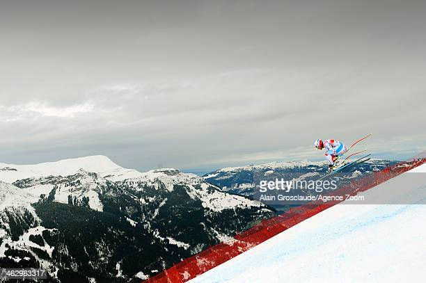 Adrien Theaux of France competes during the Audi FIS Alpine Ski World Cup Men's Downhill Training on January 16 2014 in Wengen Switzerland