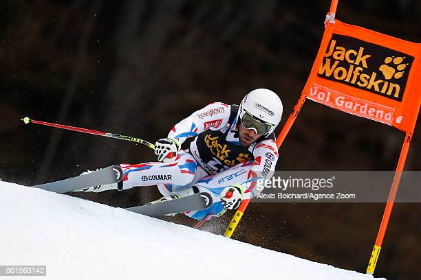 Adrien Theaux of France competes during the Audi FIS Alpine Ski World Cup Men's Downhill Training on December 16 2015 in Val Gardena Italy